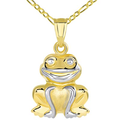 High Polished 14K Yellow Gold Smiling Frog Charm 3D Animal Pendant with Figaro Chain Necklace
