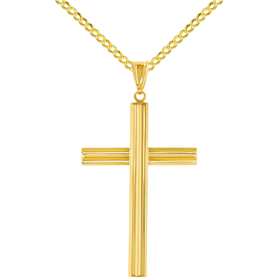 14K Yellow Gold Plain Religious Cross Pendant with Cuban Chain Necklace