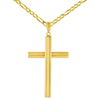 14K Yellow Gold Plain Religious Cross Pendant with Figaro Chain Necklace