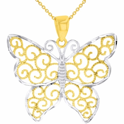 14k Yellow Gold Textured Filigree Style Butterfly Pendant Necklace