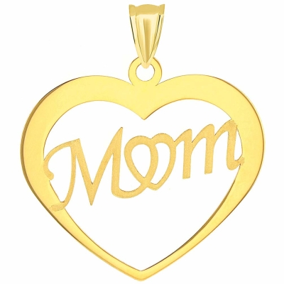 Solid 14K Yellow Gold Scripted Mom Heart Pendant