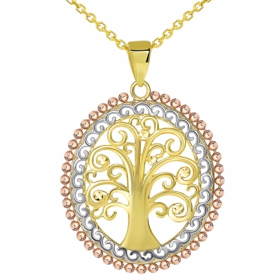 14k Yellow Gold & Rose Gold Oval Beaded Tree of Life Pendant Available with Rolo, Curb, or Figaro Chain Necklaces