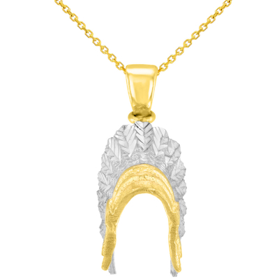 Solid 14K Yellow Gold War Bonnets Charm Native American Pendant Necklace
