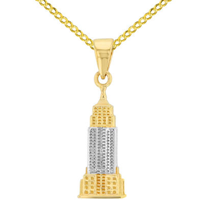 Solid 14K Yellow Gold Empire State Building Pendant with Cuban Chain Necklace