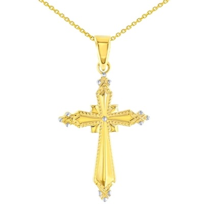 High Polish 14K Yellow Gold Milgrain Cross Charm Pendant with Necklace