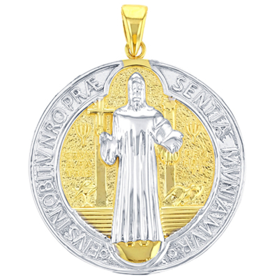 Solid 14K Yellow Gold St Benedict Medal Charm Saint Pendant with High Polish