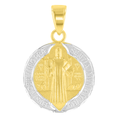 14K Yellow Gold Polished and Satin St Benedict Medal Charm Saint Pendant