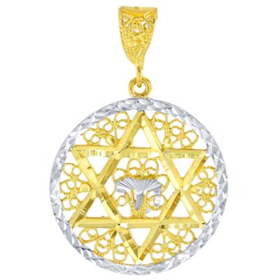 Solid 14K Yellow Gold Round Filigree Star of David with Chai Symbol Pendant