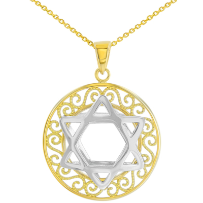 Polished 14K Two Tone Gold Round Filigree Star of David 3D Charm Pendant Necklace