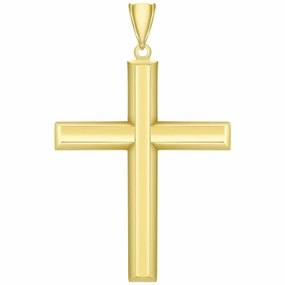 14K Yellow Gold Plain & Simple Religious Cross Charm Pendant with High Polish