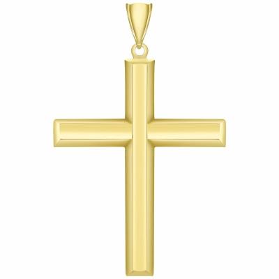 14K Yellow Gold Plain & Simple Religious Cross Charm Pendant with High Polish