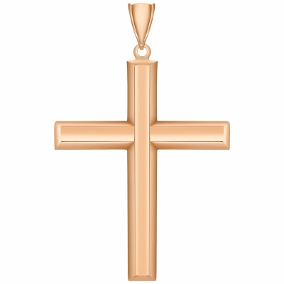 14K Rose Gold Plain & Simple Religious Cross Charm Pendant with High Polish