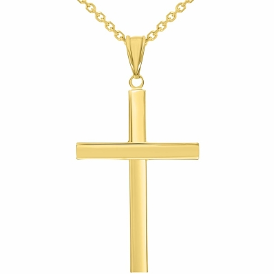 14k Yellow Gold Polished Simple Religious Cross Pendant Necklace