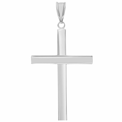 14k White Gold Simple Religious Cross Pendant