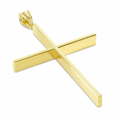 14K Yellow Gold Plain Slender Large Cross Pendant with High Polish