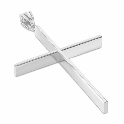 14K White Gold Plain Slender Large Cross Pendant with High Polish