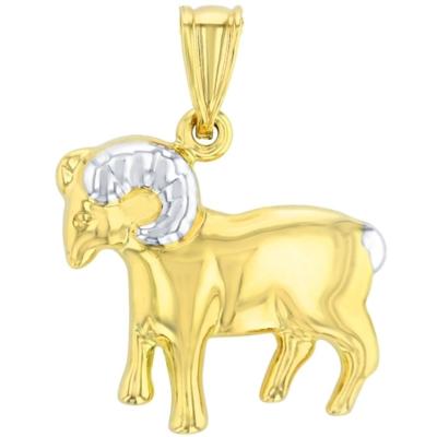 High Polish 14K Yellow Gold Ram Pendant Aries Zodiac Sign Charm