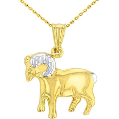 High Polish 14K Yellow Gold Aries Zodiac Sign Pendant Ram Charm Necklace