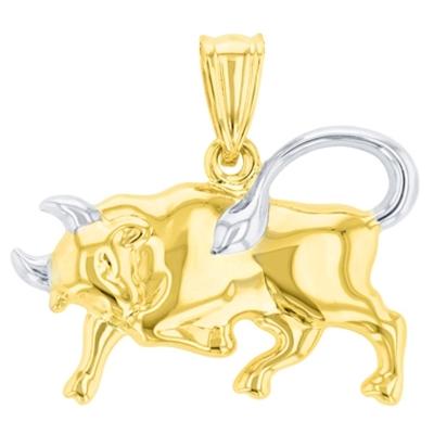 High Polish 14K Yellow Gold Bull Pendant Taurus Zodiac Sign Charm