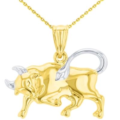 High Polish 14K Yellow Gold Bull Pendant Taurus Zodiac Sign Charm Necklace