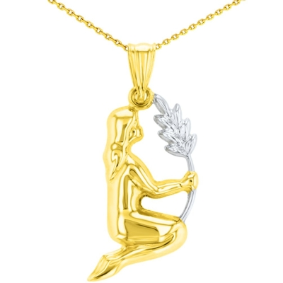 High Polish 14K Yellow Gold Virgo Maiden Holding Wheat Zodiac Sign Charm Pendant with Chain Necklace