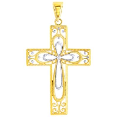 14K Yellow Gold Textured Milgrain Filigree Cross Pendant