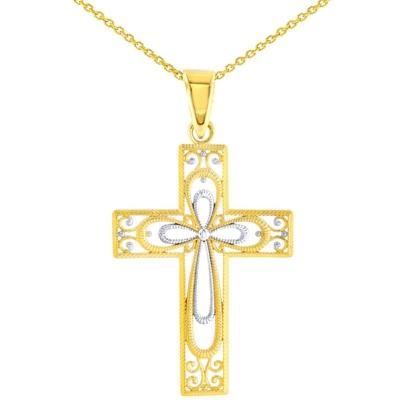 14K Yellow Gold Textured Milgrain Filigree Cross Pendant Necklace