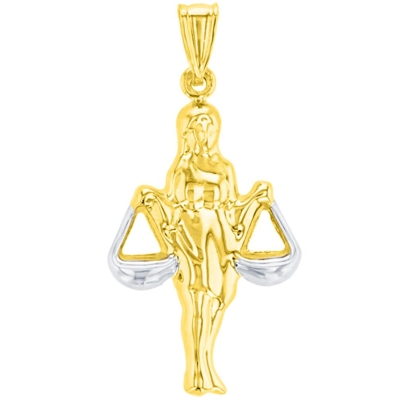 High Polish 14K Yellow Gold Libra Zodiac Sign Charm Holding Scale Pendant