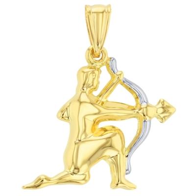 High Polish 14K Yellow Gold Sagittarius Zodiac Sign Charm Pendant