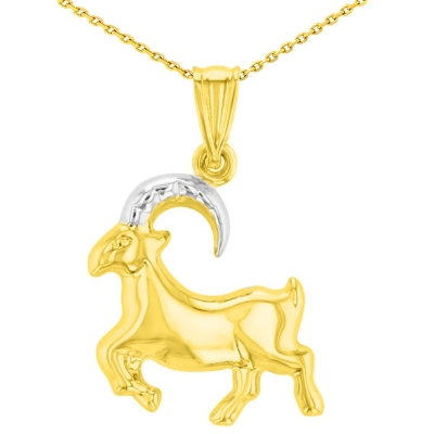 High Polish 14K Yellow Gold Capricorn Zodiac Sign Charm Pendant with Chain Necklace