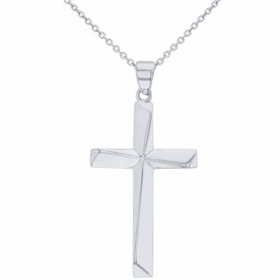 Solid 14K White Gold Elegant Religious Plain Cross Pendant Necklace