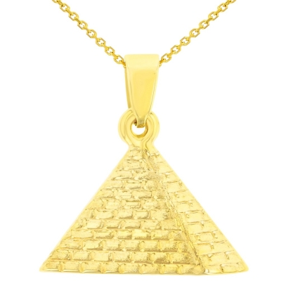 14K Yellow Gold Satin Polished Egyptian 2D Pyramid Pendant Necklace