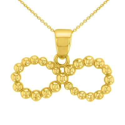 14K Yellow Gold Beaded Style Infinity Pendant Necklace