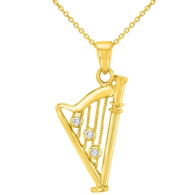 Solid 14K Yellow Gold CZ Harp Charm Musical Instrument Pendant Necklace