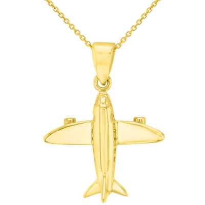 Solid 14K Yellow Gold 3D Airplane Charm Jet Aircraft Pendant Necklace