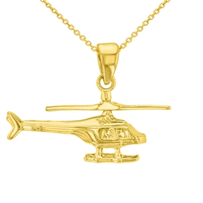Solid 14K Yellow Gold Helicopter with Motion Moving Propeller Pendant Necklace