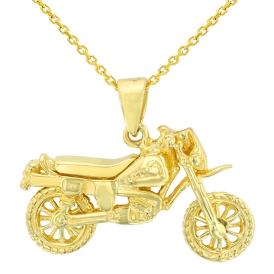 Solid 14K Yellow Gold Simple Motorcycle Bike Pendant Necklace