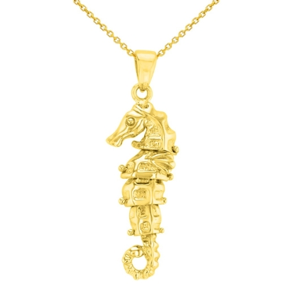 Solid 14K Yellow Gold Dangling Seahorse Pendant Necklace