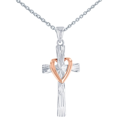High Polish 14K Two Tone Gold Textured Cross with Heart Charm Pendant Necklace