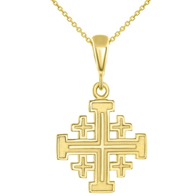 Solid 14K Yellow Gold Crusaders Jerusalem Cross Pendant Necklace