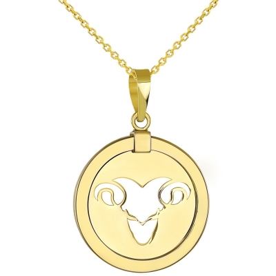 14K Yellow Gold Reversible Round Ram Aries Zodiac Sign Pendant Necklace