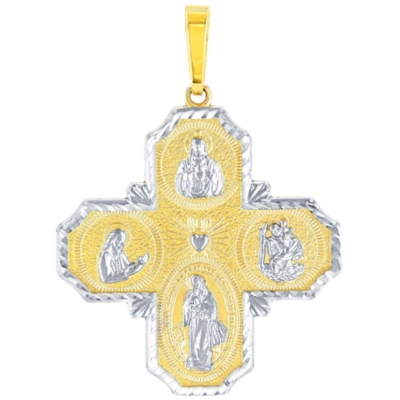 14K Yellow Gold Four Way Cross Charm I Am Catholic Please Call A Priest Pendant with Texture