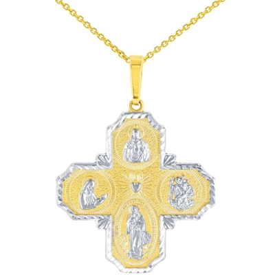 Textured 14K Yellow Gold Four Way Cross Charm I Am Catholic Please Call A Priest Pendant Necklace