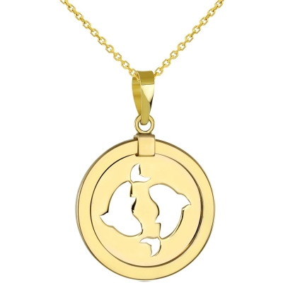 14K Yellow Gold Reversible Round Pisces Zodiac Sign Pendant Necklace