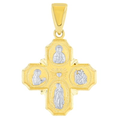 Solid 14K Yellow Gold Dainty Four Way Cross Charm with God Bless You Pendant