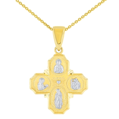 Solid 14K Yellow Gold Dainty Four Way Cross Charm with God Bless You Pendant Necklace