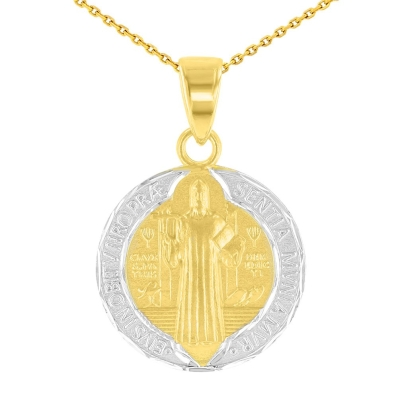 14K Yellow Gold Polished and Satin St Benedict Medal Charm Saint Pendant Necklace