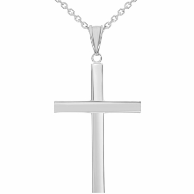 14k White Gold Polished Simple Religious Cross Pendant Necklace