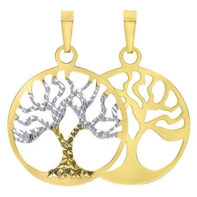 Solid 14K Yellow Gold Textured Reversible Round Tree of Life Charm Pendant