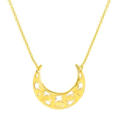 14K Yellow Gold Sideways Crescent Moon Necklace